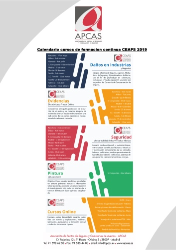 Apcas publica su calendario de formación 2019
