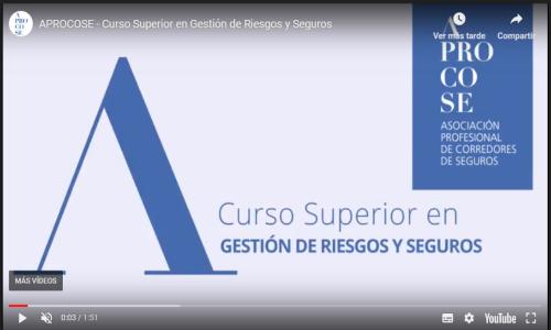 Aprocose presenta la segunda edición del Curso Superior en Gestión de Riesgos y Seguros