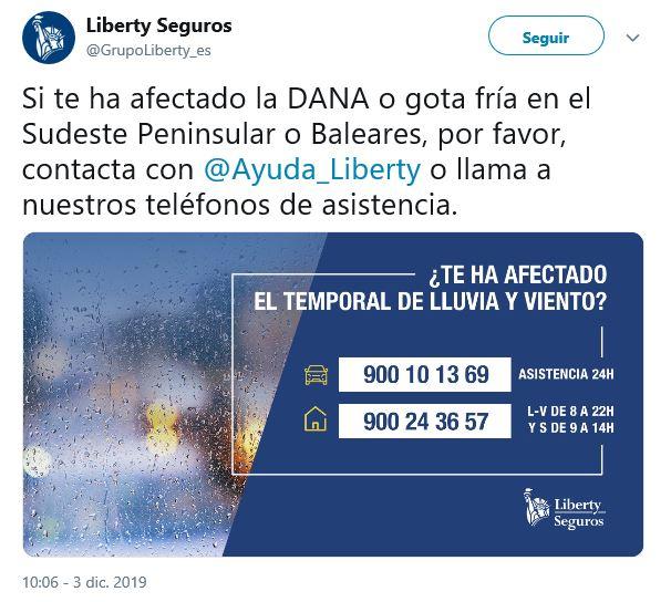 Liberty Seguros DANA noticias de seguros