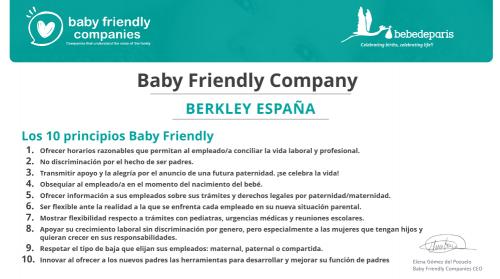 Berkley se convierte en una empresa Baby Friendly. Noticias de seguros.