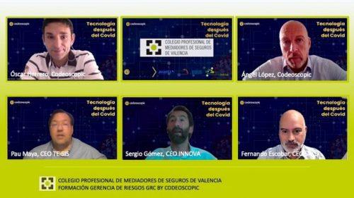 Grupo Codeoscopic ofrece un webinar sobre el entorno tecnológico tras la covid-19 a los colegiados de Valencia.