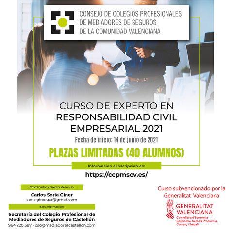El consejo valenciano convoca el Curso de Experto en Responsabilidad Civil Empresarial subvencionado por la Generalitat Valenciana