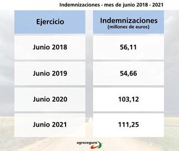 Agroseguro registra el peor mes de junio de la historia del seguro agrario con indemnizaciones superiores a los 111 millones de euros.