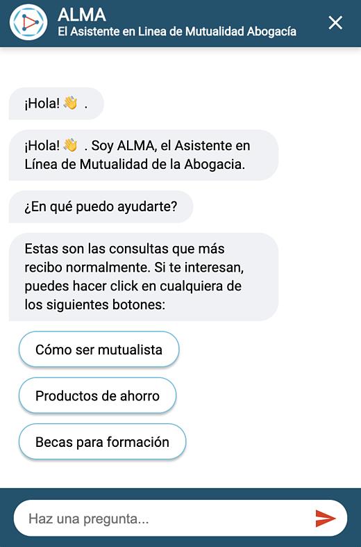 Mutualidad de la Abogacía presenta ALMA, el primer asistente en línea de la entidad.
