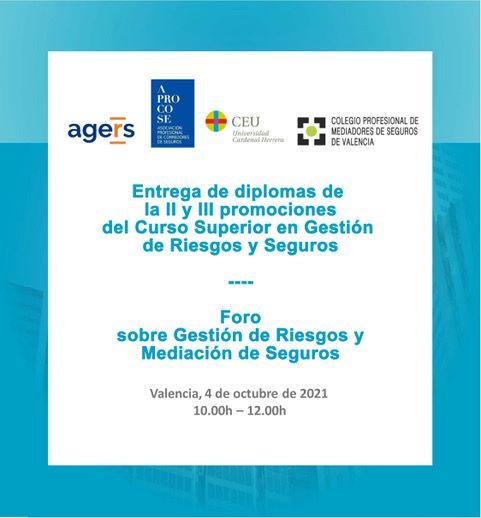 El Colegio de Valencia convoca el Foro sobre Gestión de Riesgos y Mediación de Seguros.